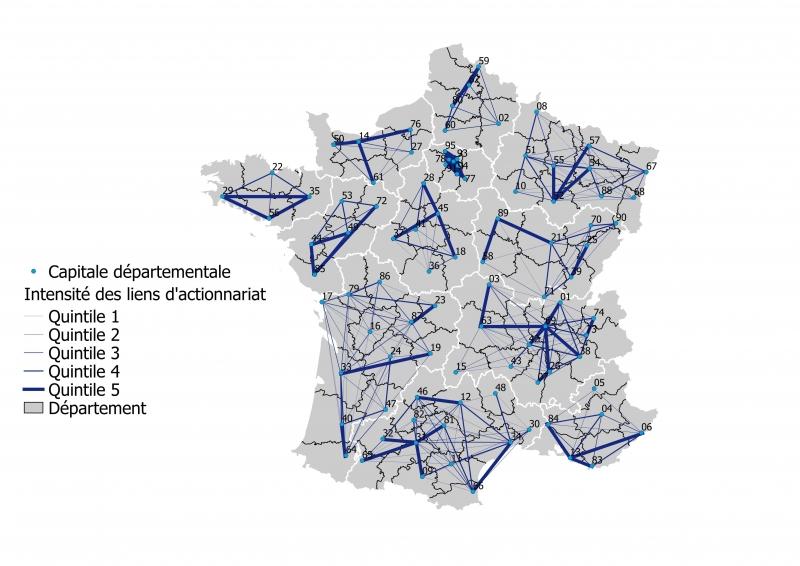 Intensité des liens d'actionnariat entre départements d'une même région