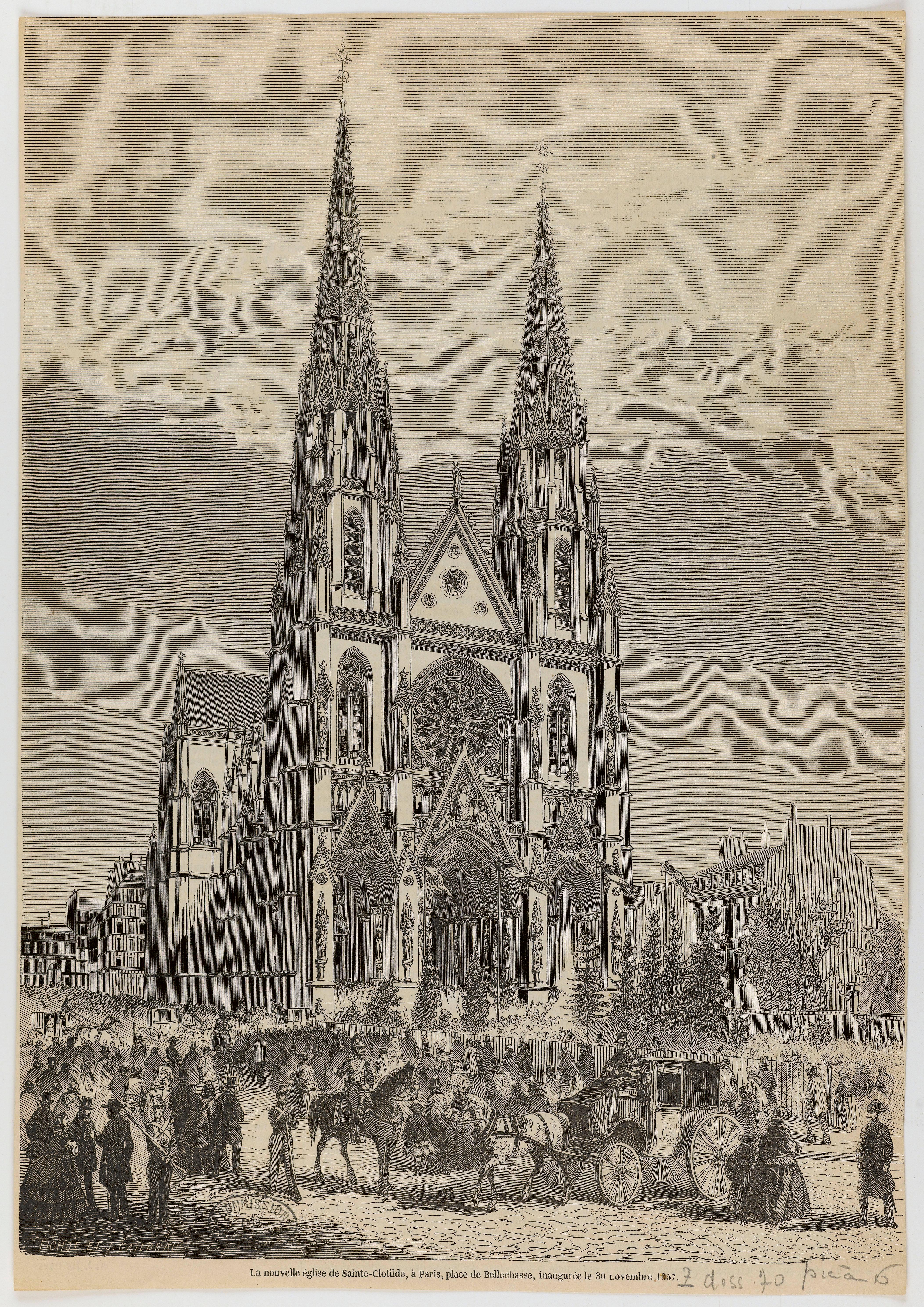 Eglise Sainte-Clotilde, 23 bis rue Las Cases. Paris (7e arr.).Gravure, papier (tirage en provenance d'une revue), 22,8 x 32,7 cm, s. d.© Fichet et J. Caildrau / DHAAP / Roger-Viollet.