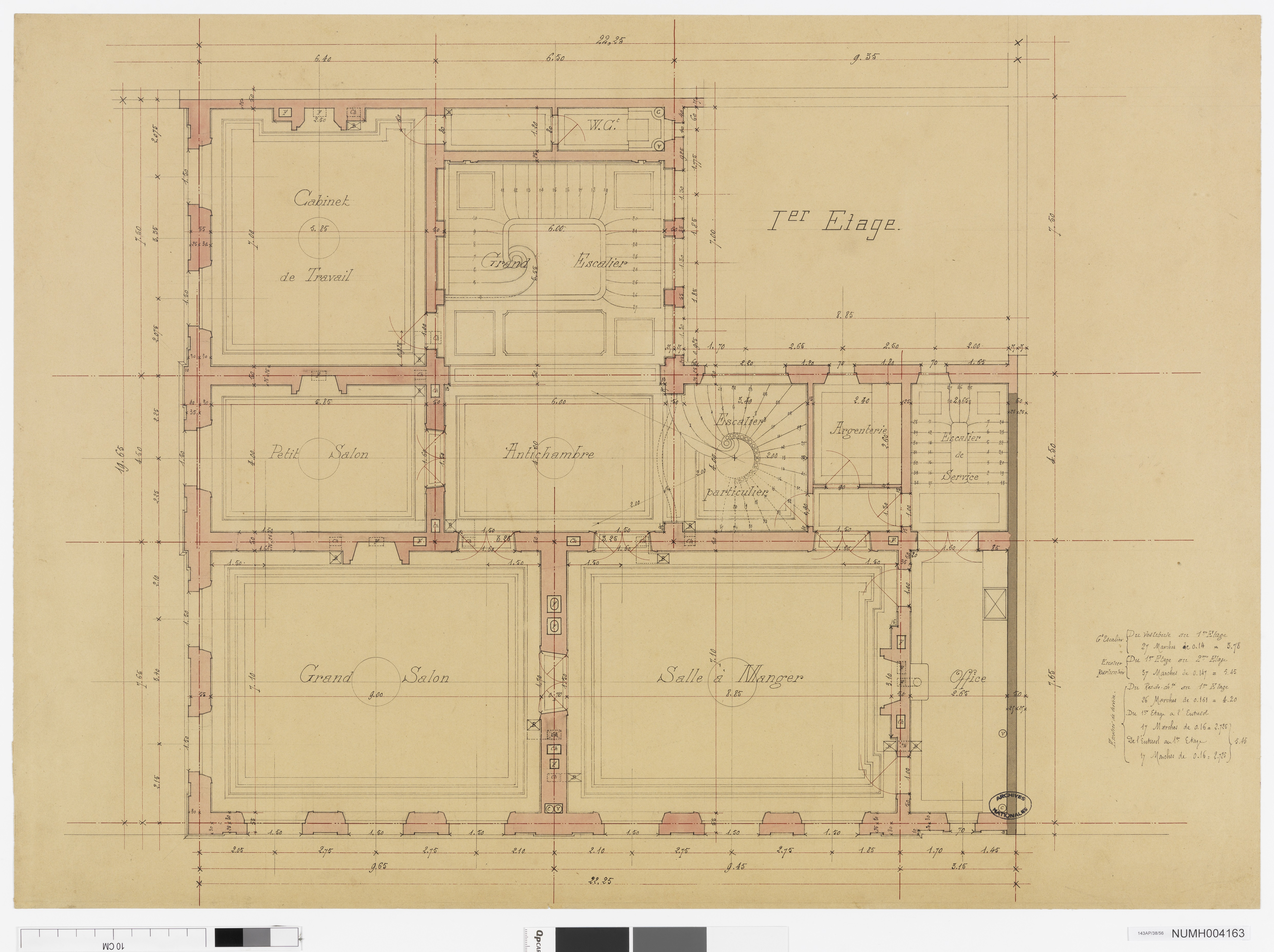 Hôtel de Vogüé : plan du 1er étage, 1882-1883.Document conservé aux Archives nationale. Cliché Atelier photographique des Archives nationales, 143 AP 38/ 56.