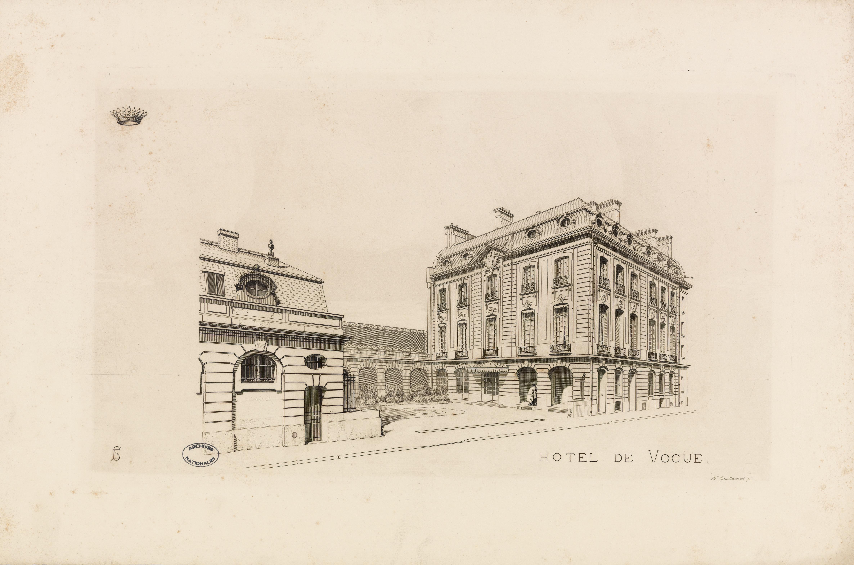 Hôtel de Vogüé : façade sur rue et jardin, 1882-1883.Document conservé aux Archives nationales. Cliché Atelier photographique des Archives nationales, 143 AP 38/172.