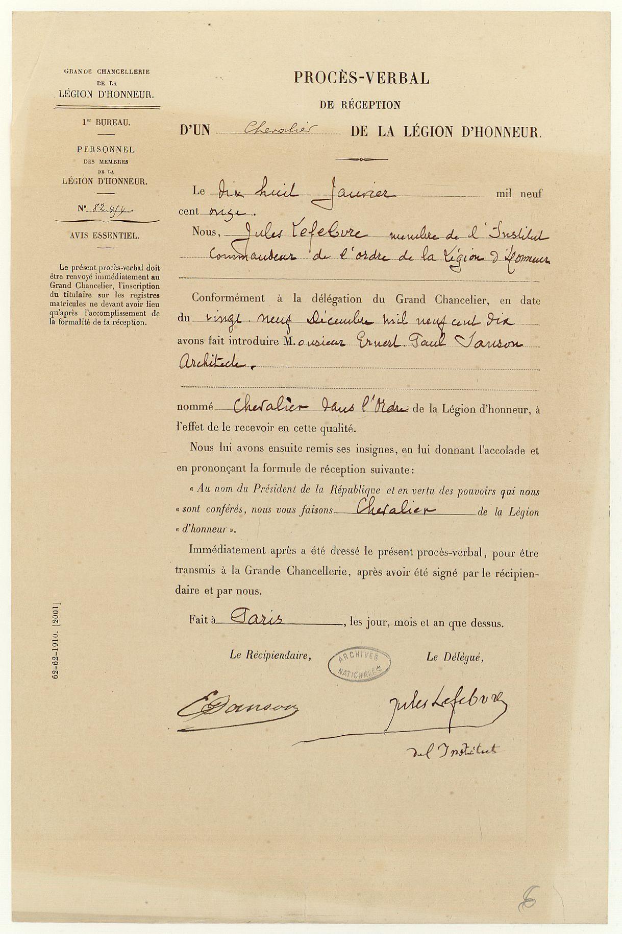 Légion d'honneur d'Ernest Sanson, procès verbal de réception, 1911.
