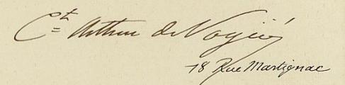 Légion d'honneur d'Arthur de Vogüé, extrait d'une lettre écrite à Monsieur le Grand Chancelier de l'ordre de la Légion d'honneur, 25 mars 1885.