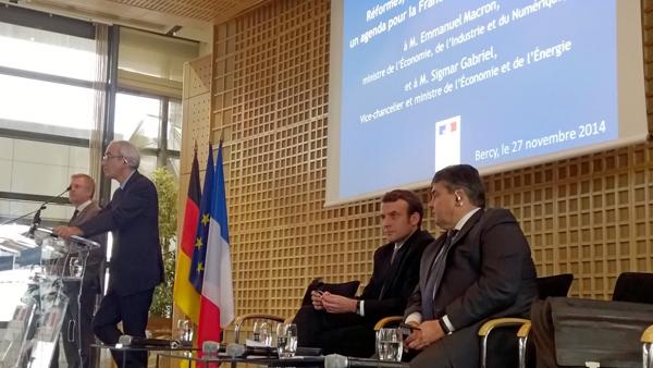 Emmanuel Macron, Sigmar Gabriel, Jean Pisani-Ferry et Henrick Enderlein